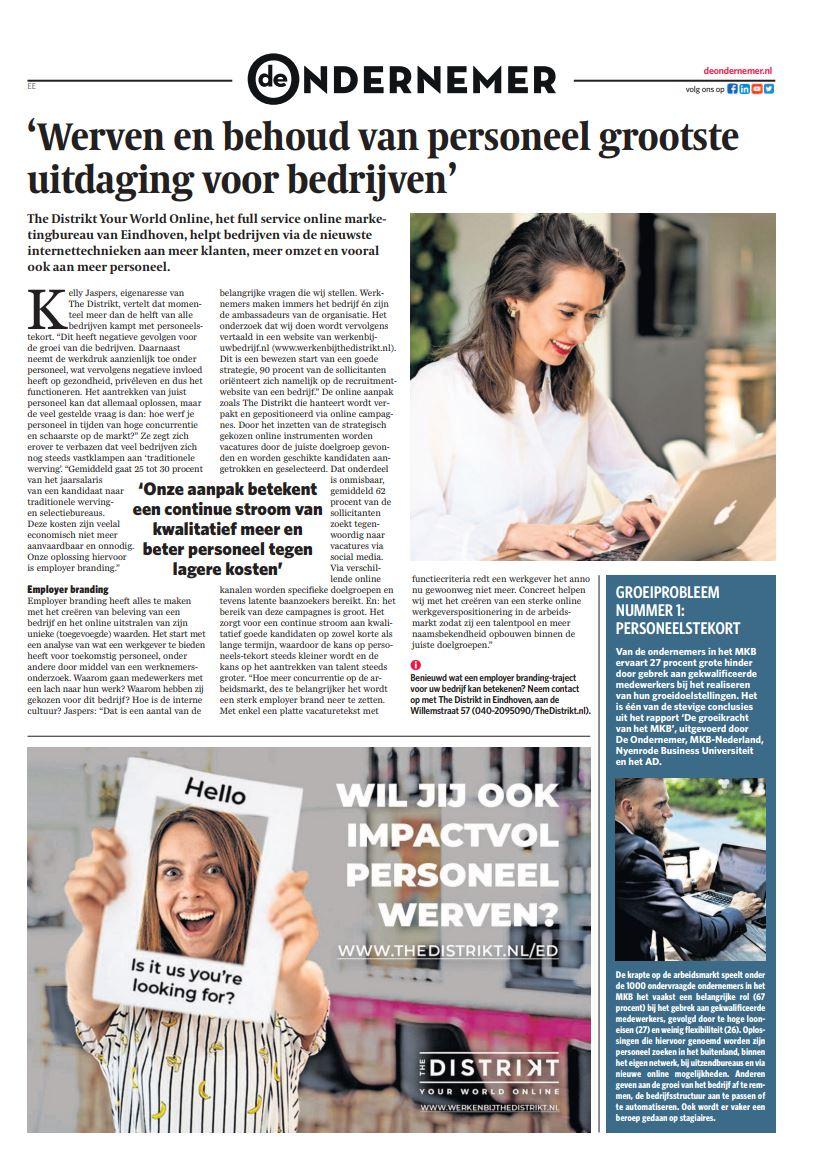 The DISTRIKT persbericht De Ondernemer